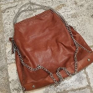 Handbags - Leather convertible bag with chain